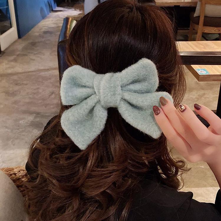 Big Hair Bow Clips Clips Atin Belvet Два слоя Бабочка Bow Bow Hairpin Девушка Волос Аксессуары для Женщин Bowknot Hairpins 0690