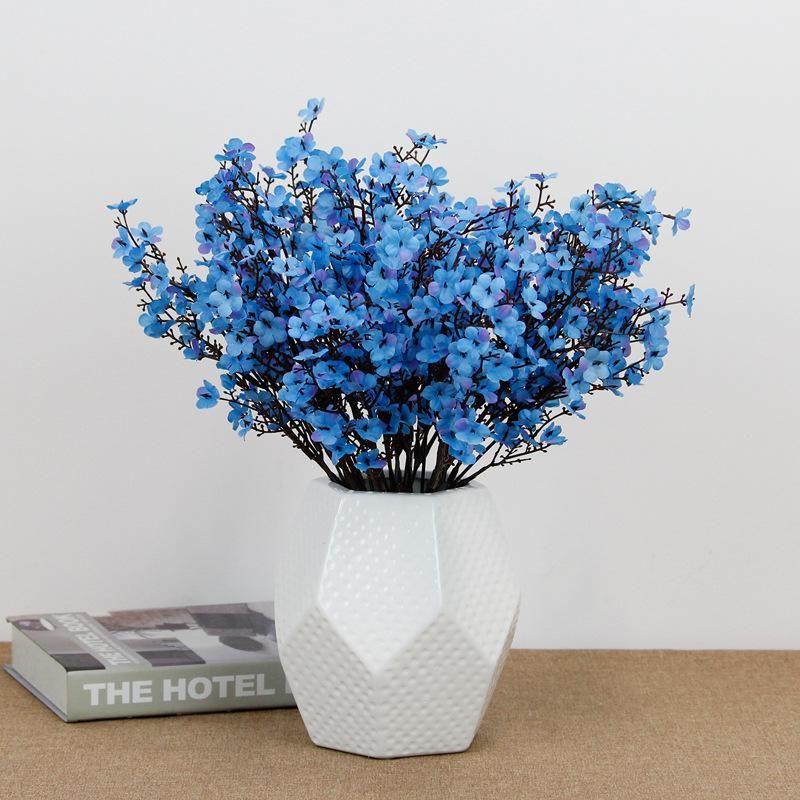 Silk Gypsophila flores artificiais para decoração de casa Plastic Stem Bride Bouquet Wedding Mariage Cherry Blossom falsificação flor DIY
