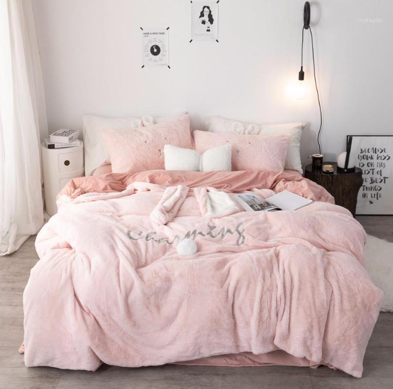 Подвесные комплекты 42 розовые белые серые уши вышивка флисовая ткань девушка ребенок бархатный пододеяльник постельное белье / льняные наволочки1