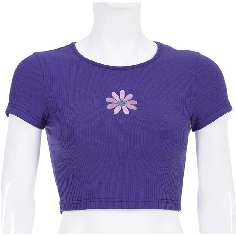 Sommer Frauen Kurzarm Stickerei Blume Gestrickt Purpurrotes T-Shirt Y200111