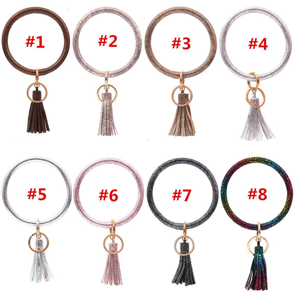 Leather Snakeskin Keyring Pu Tassel Bracelet Shinning Colors Wristlet Keychain Bangle