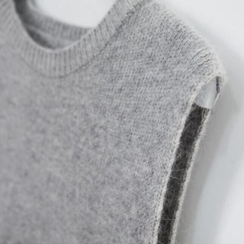 Женские свитера женщины осень одежда зимний негабаритный мойер осень вязаный жилет круглый шейный пуловер 100% кашемир без рукавов 201210