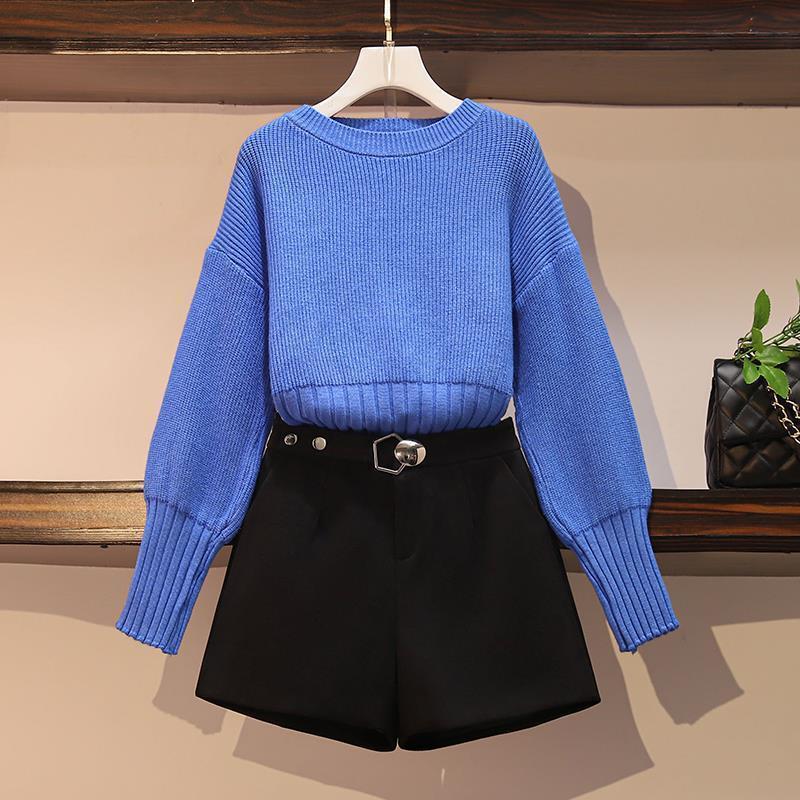 Novo inverno 2021 moda define vermelho em torno do pescoço + shorts de lã duas peças de terno das mulheres y447 ewco