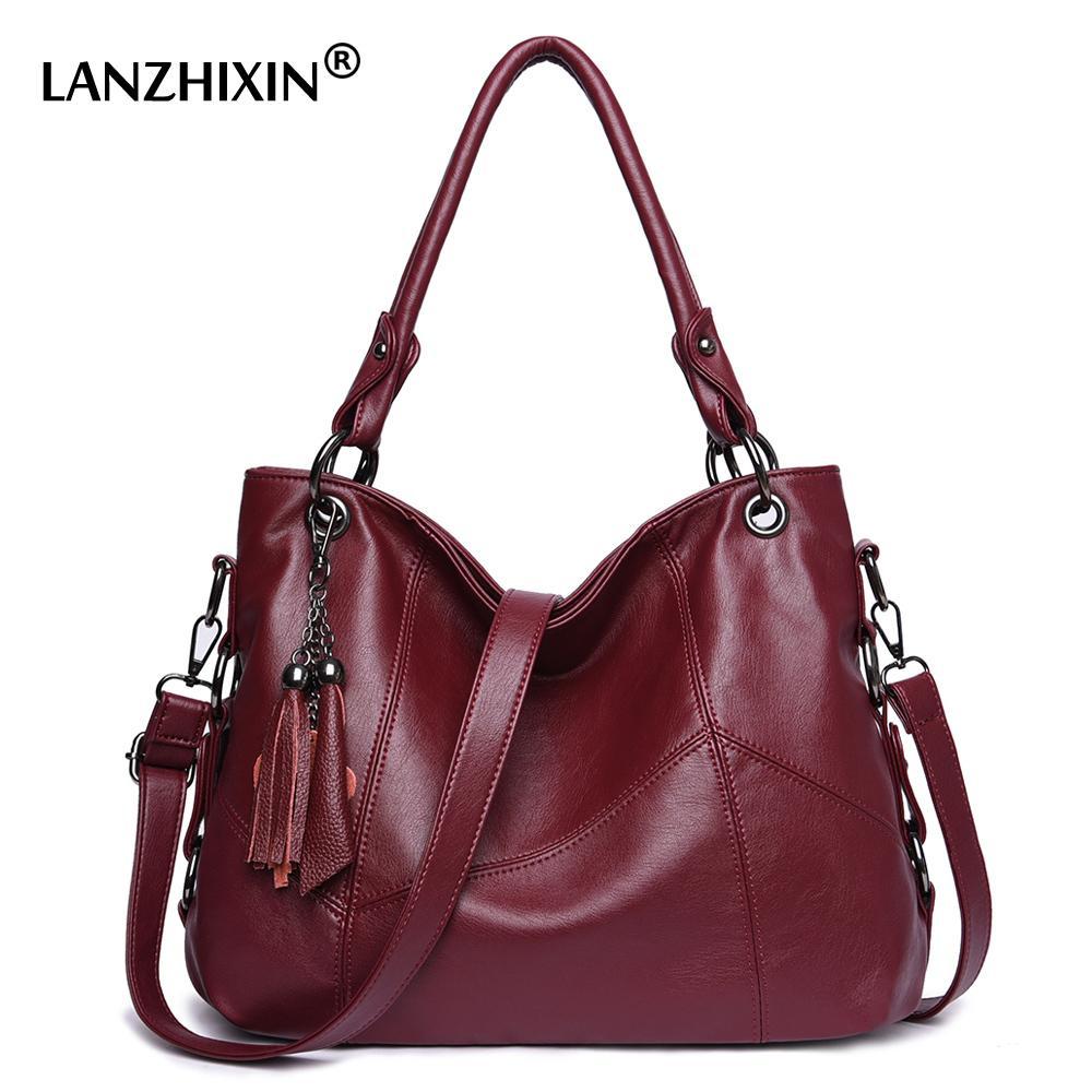 Pelle Lanzhixin Donne Donne Borse Messenger Borse del progettista di Crossbody Bag Donna Bolsa Top-manico Tote Bags Sacchetti di spalla 819S 0928