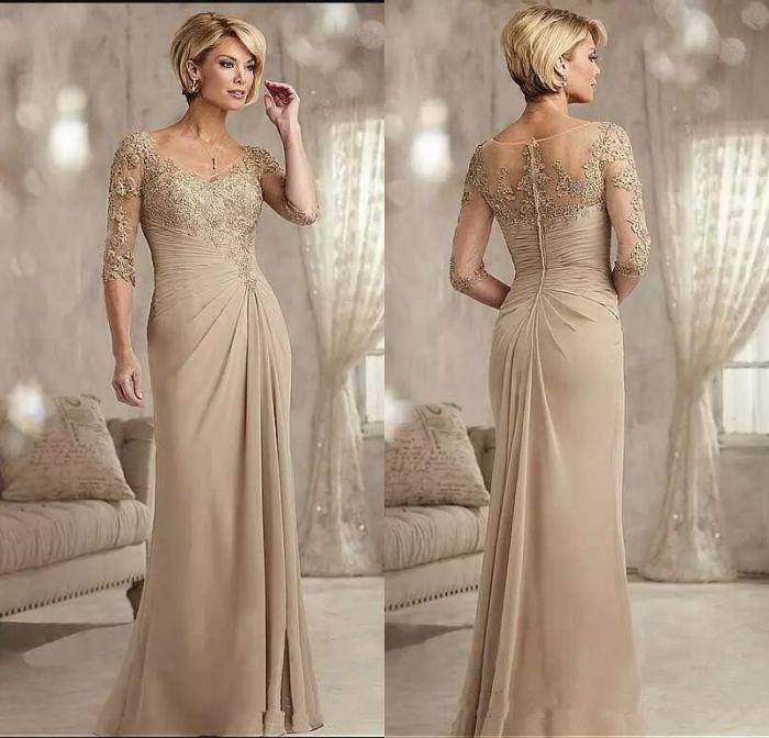 Champagne Lace Sheath Mother of the Bride Dresses Floor Length Pleats Applique Party Dress 3/4 Long Sleeve Chiffon Wedding Guest Gowns M051