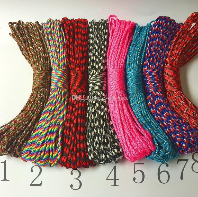 High quality 7 cores 7 cores umbrella rope 31 meters 100 feet 4MM outdoor braided bracelet rope safety rope 200 colors
