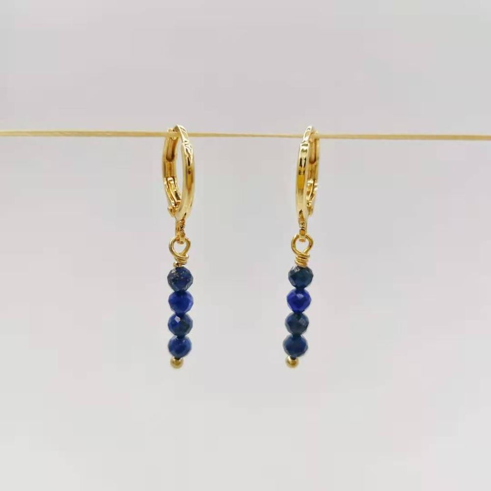 Danidad facetada lapis lazuli bar pendientes únicos simple cuelga natural piedras naturales 14k oro relleno elegante joyería de piedras preciosas para mujeres