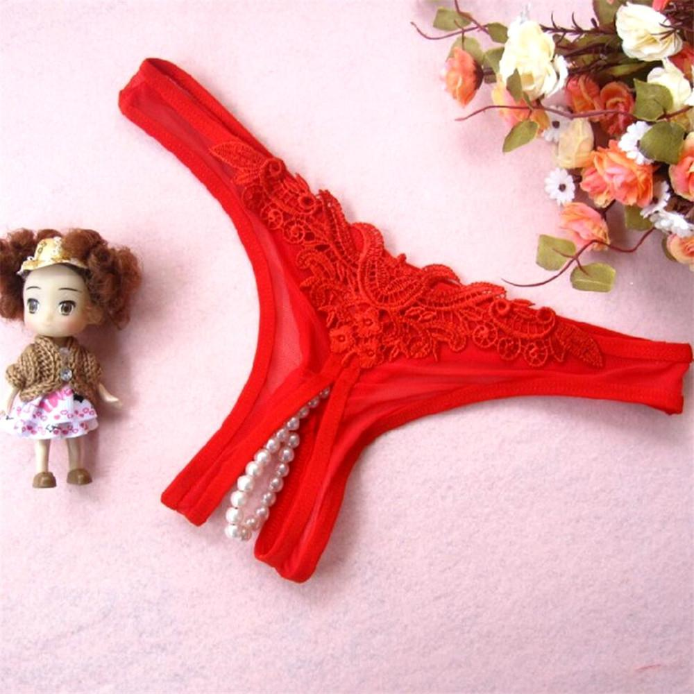 Erotic Crotch Open G String Thong Lingerie Women Sexy Crotchless Panties Bowknot Pearls Lace Underwear Home Wear