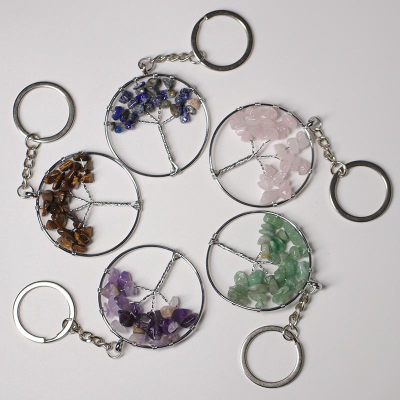 Moda Natural Crystal Stone Life Chain Chaveiro Chaveiro Carro Mochila Acessórios Decoração Presentes para homens e mulheres