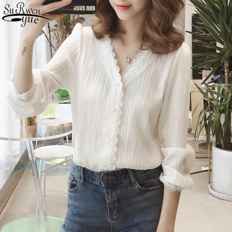 Talla grande 3xl 2020 otoño cuello en v manga de soplo sólido blusa de mujer rayada camisetas de cordón de rayas de manga larga camisas de lecho de soltero 11087