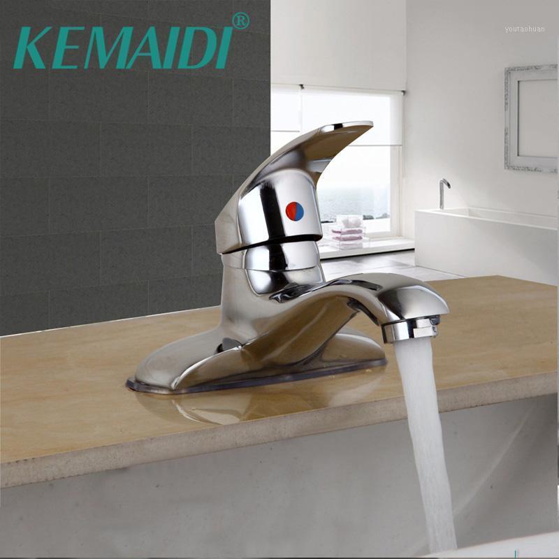 Смесители раковины для ванной комнаты Kemaidi UK Установлен Chrome Полированный бассейн смеситель для воды Tap W / Один рычаг Двойные дыры TAPS1