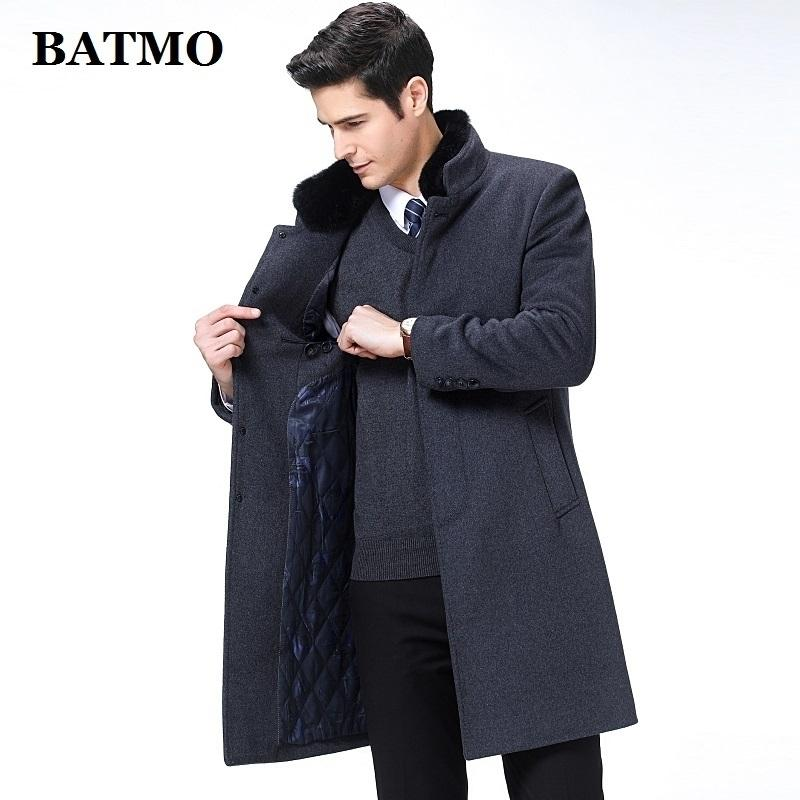 Batmo Новое поступление ОсеньWinter Высококачественные шерстяные длинные траншеи пальто мужчин, мужские шерстяные куртки, теплое пальто, плюс размер M-XXXL, 8808 201126