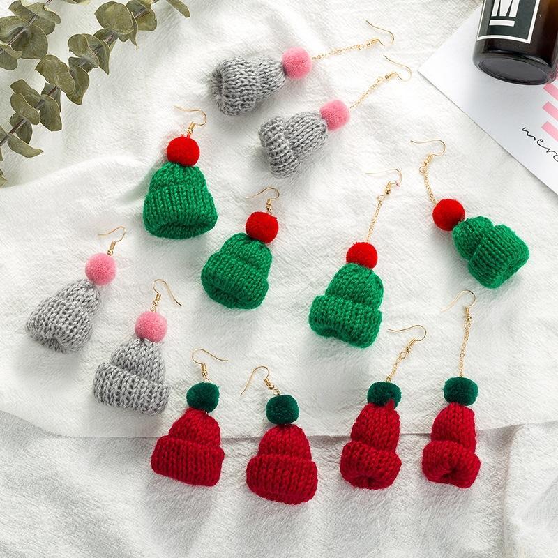 울 크리스마스 모자 Pendeloque 컷 귀걸이 여성 기질 긴 봉제 귀고리 성격 조커 귀걸이 제품