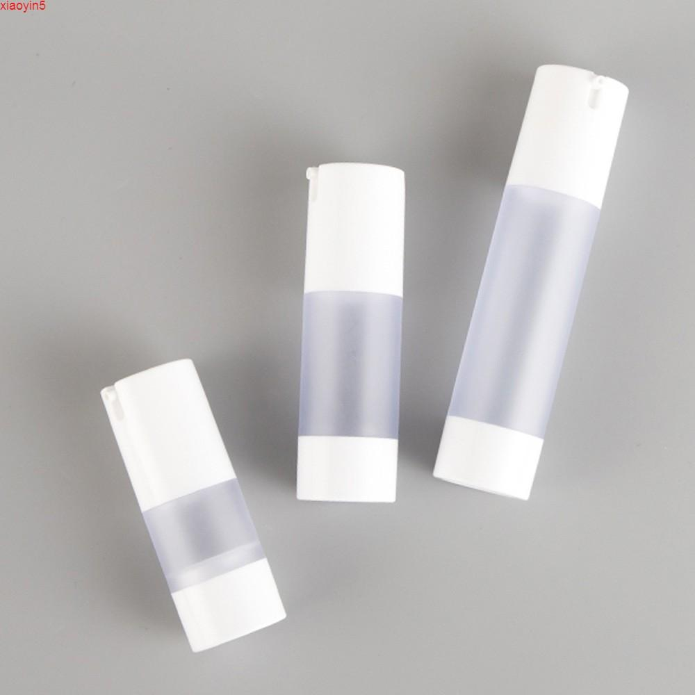Üst 15 ml 30ml 50ml Havasız Şişe Özü Vakum Pompası Buzlu Beyaz Doldurulabilir Şişeler Sıvı Makyaj Konteyner Araçları 100 adetgrood Ürün