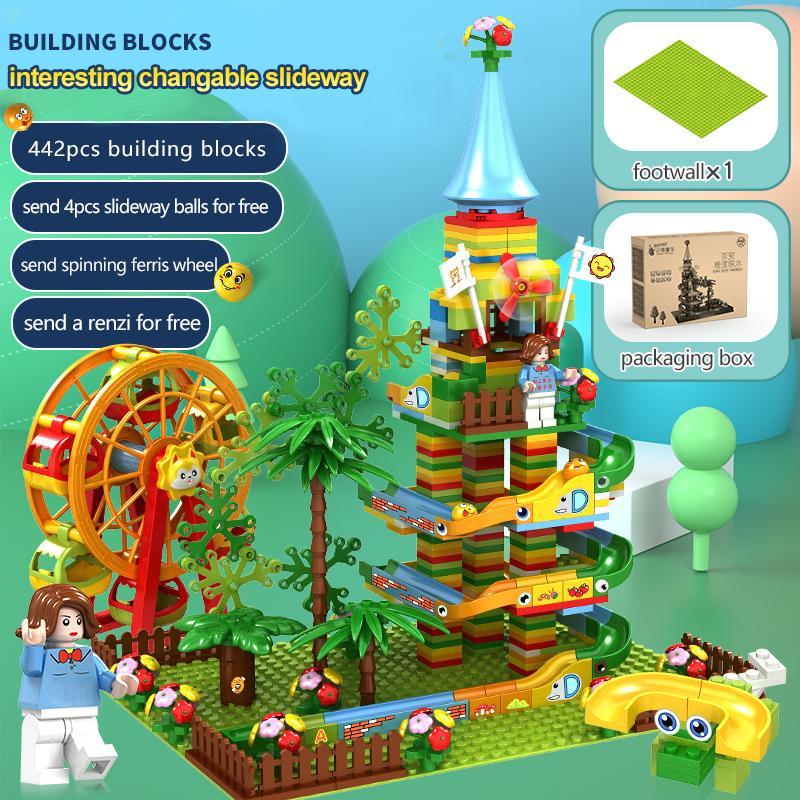 Novo 2021 442 pcs raça de mármore correr grande bloco compatível blocos de construção duploed funil blocos de deslizamento DIY brinquedos grandes para crianças Presente