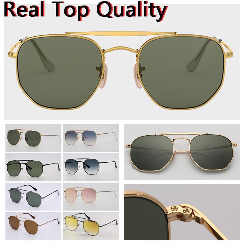 Lunettes de soleil Mens Sunglasses Sunglasses Hexagonal Double Bridge Sunglasses de mode Verres de verre UV avec étui en cuir et tous les paquets de vente au détail