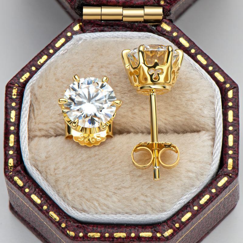 18K Amarillo Chapado en oro Amarillo 0.5 quilates Prueba de diamante de corte brillante Pastido D Color Moissanite Pendientes de plata 925 Pendientes originales de Stud