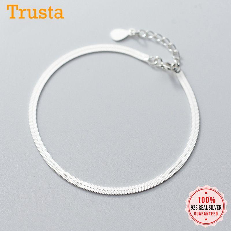 Trusta minimalista reale Catena 925 d'argento di disegno piano del serpente di osso braccialetto per le donne d'argento 925 il braccialetto dei monili DA696 1028