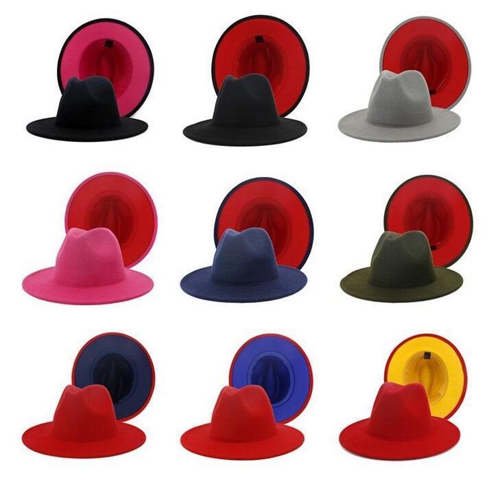 بنما كاب الجاز قبعة رسمية سيدة فيلت فيدورا القبعات الأزياء خليط واسعة بريم قبعات للجنسين تريلبي تشافت للرجال النساء الأحمر الأسود 2020
