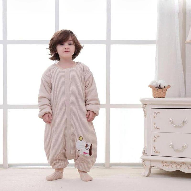 Зимняя теплая малыш малыша спальный мешок для детей пижамы сплит ноги спать мешок с длинным рукавом носить одеяло ребенка пелена, обертывающие сонные w1218