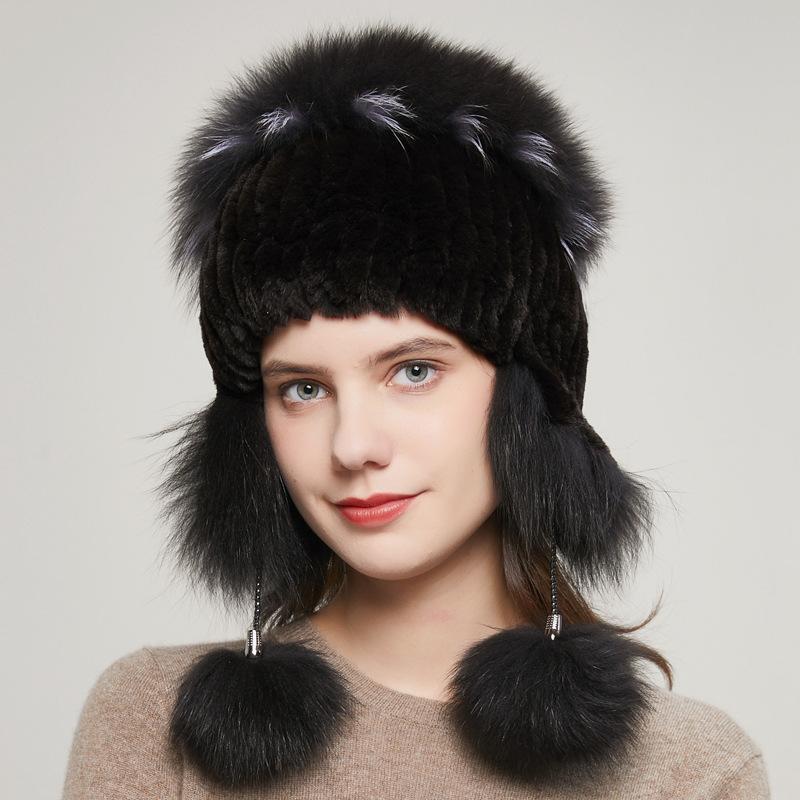 HY-14 Popular Estilo Rex Fur Hat Inverno Moda Elastic Ladies térmica Ear malha Cap