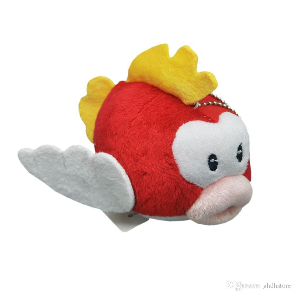 "Top New 4"" Presentes 10CM Super Mario Bros Cheep Cheep Red Flying Fish Plush Doll Anime Collectible macia Dolls Chaveiros Pingentes brinquedos de pelúcia"