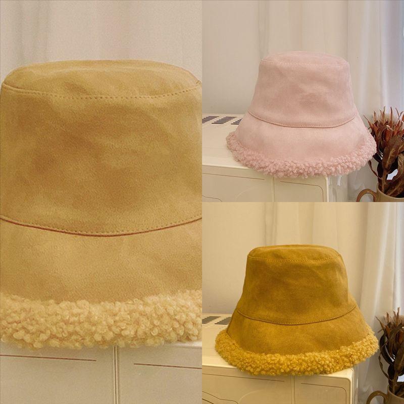 3zeny cubo invierno de doble cara otoño e invierno sombrero de invierno pesca retro mantén cálido peluche esponjoso peluche sombrero cálido sombrero pescador mujeres pompón
