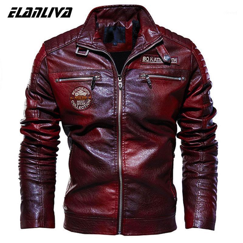 Giacca in pelle Uomo Inverno Fleece Moto Moto PU Leahter Giacca Maschile Stand Collar Collar Casual Ventola Ropa de Hombre Slim Coat1