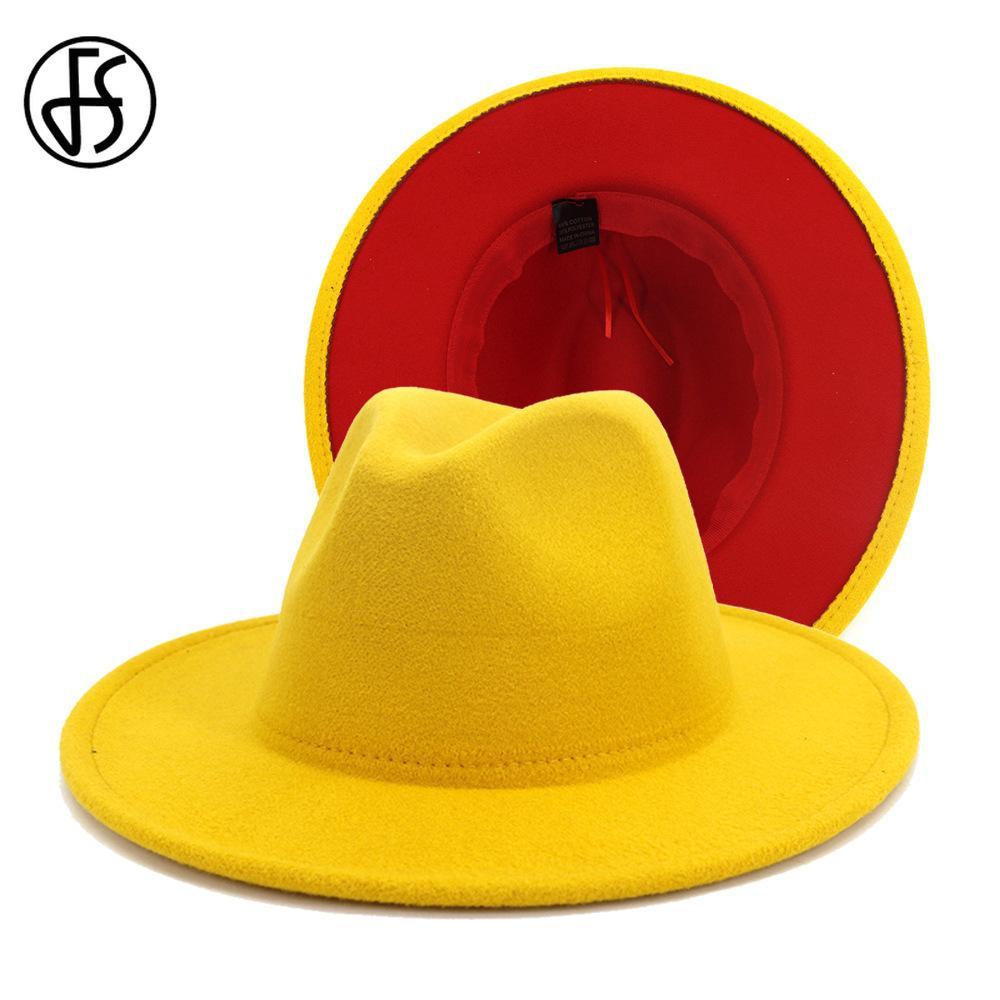 FS Nowy Żółty Czerwony Patchwork Wełny Czapki Jazz Fedory Kapelusze Mężczyźni Kobiety Szeroki Brim Panama Cowboy Trilby Hat Party Elegancka Cap 201028