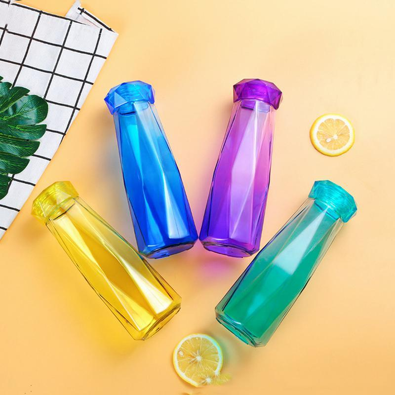 19oz Crystal Glass Water Bottle Fashion Travel Mug Sport Water Bottle Camping Hiking Kettle Drink Cup New Diamond Tumbler Gift DWD2607
