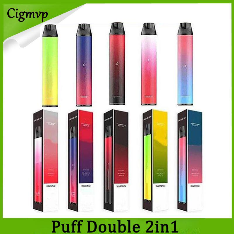 퍼프 더블 2000Puffs 전자 담배 2 in 1 일회용 장치 포드 키트 900mAh 배터리 6ml 퍼프 카트리지 vape 펜 vs ezzy super flex xxl max