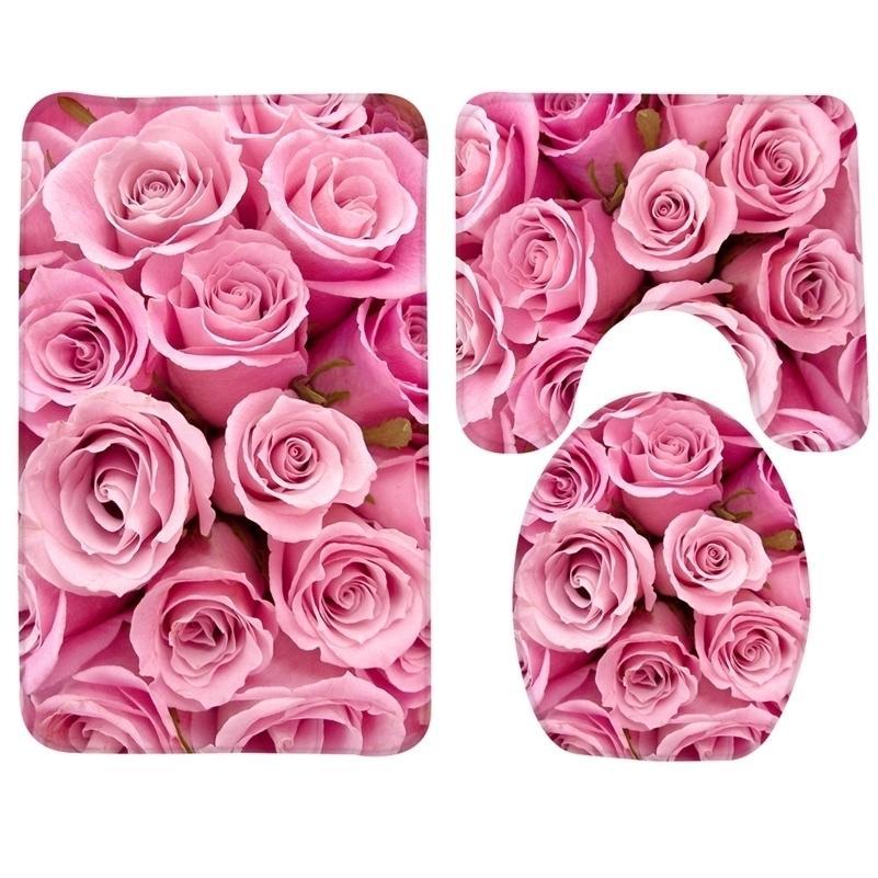 3 unids Set Pink Roses Pattern Bath Anti resbalón Ducha y estera de inodoro Productos de baño 201211