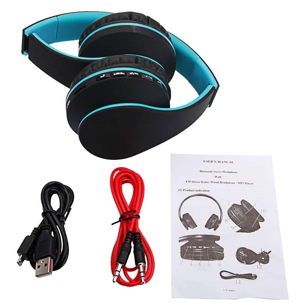HY-811 Foldable FM Stereo MP3 Player Wired Bluetooth Headset Black Blue