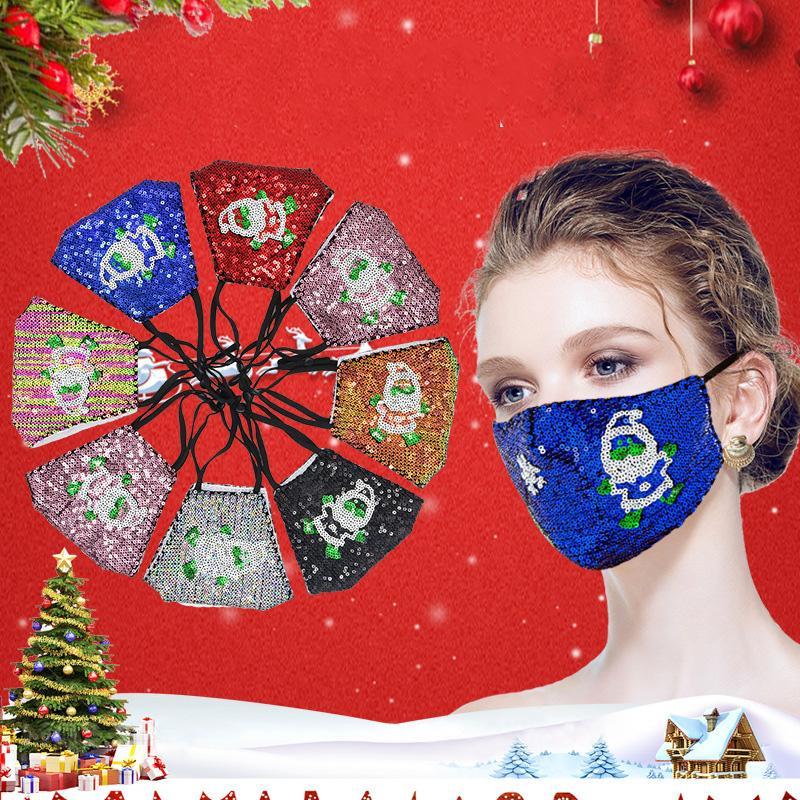 Maschere Designer Decorazione natalizia Paillettes Bling Bling maschere di protezione Babbo Natale Viso Bocca di copertura per adulti regolabile Maschera