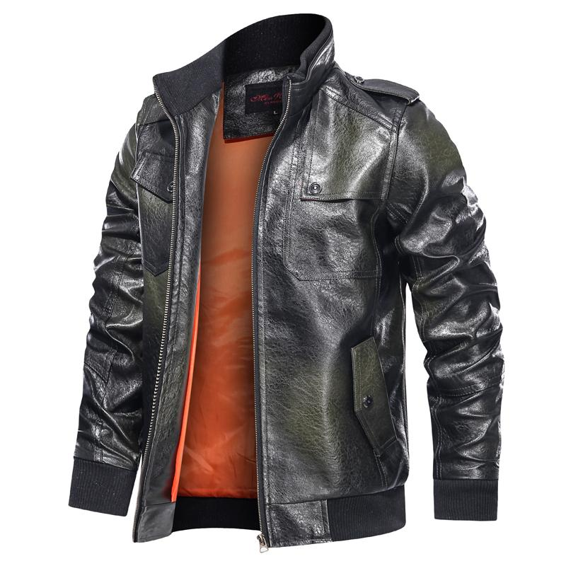 2020 Leather Jacket autunno del motociclo uomini stanno solida del collare del rivestimento di cuoio di colore del Mens di modo casuale Leather Jacket Zipper Men