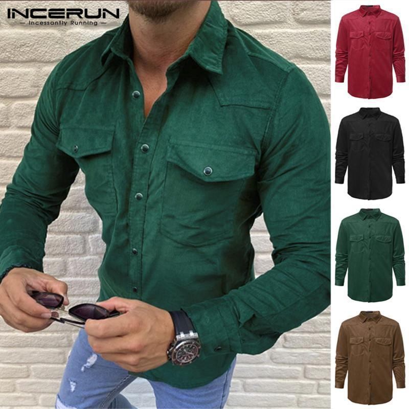 INCERUN Мужчины Повседневные Твердые с длинным рукавом руно рубашки Тонких кнопками вниз Кармана Осени теплой Daily Wild Mens Blouse Camiseta