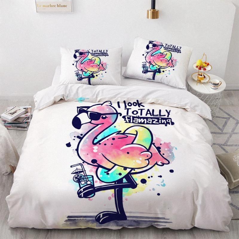 3D Bedding Set Copripiumino Consolatore letto Size Biancheria Regina Re Regina Singolo Doppia fumetto Flamingo design Home Textile p8Ld #
