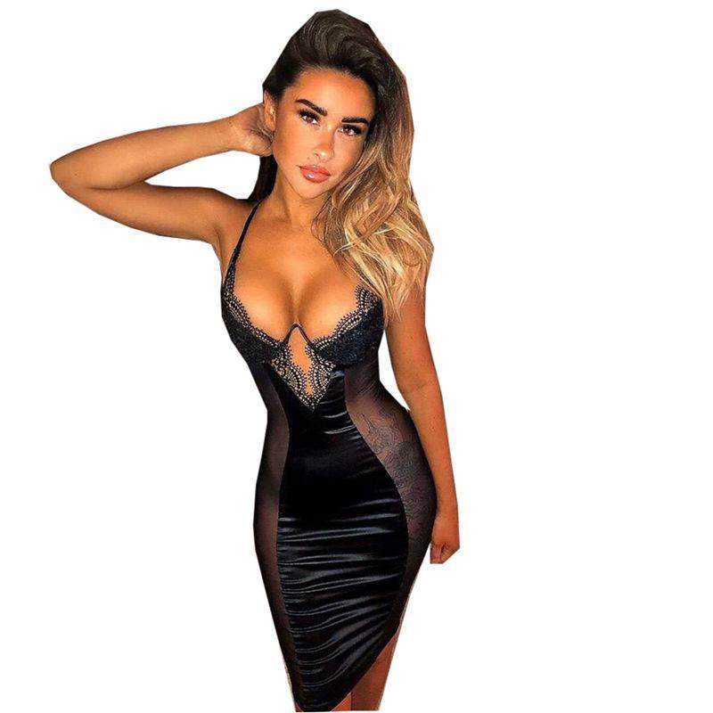 Delle Donne BodyCon Dress V Collo in pizzo Sexy Sexy Night Club Abiti Nero Ooen Indietro Prospettiva Party Party Vestiti estivi