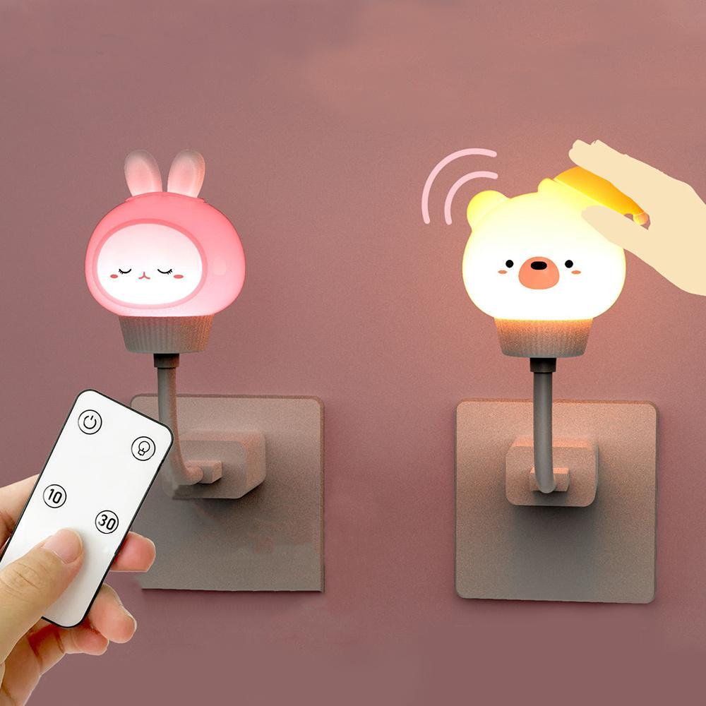 Luz de noche Control remoto USB LED Lámpara de noche Lámpara de oso del conejo para la luz de la noche de los niños Luces de bebé para la decoración del dormitorio Regalo de regalo