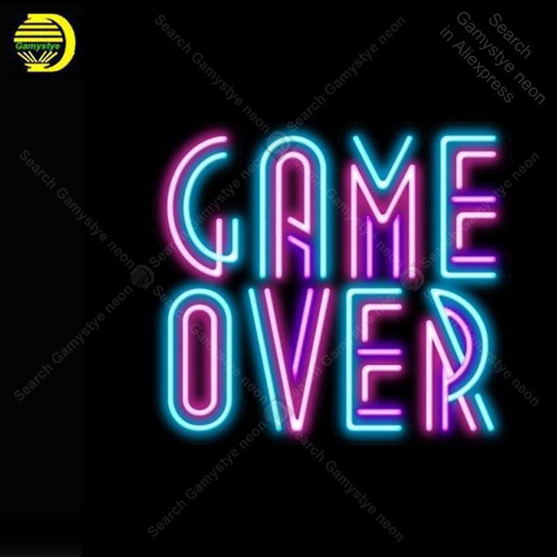 게임 오버 장식 윈도우 어 게임장 디스플레이 맥주 바 유리 튜브 이중 튜브 네온 사인 빛 비즈니스 네온 램프 광고