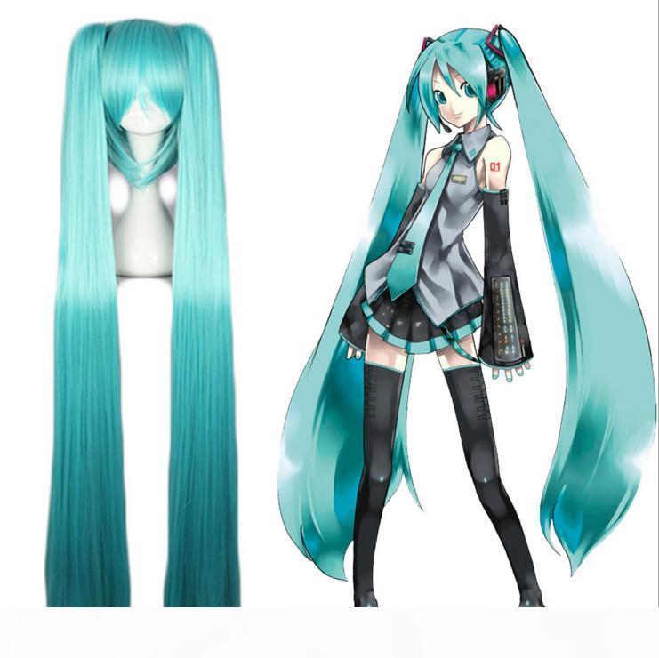 ZF Hatsune Miku peruca cosplay 120cm cores azuis Cachos gêmeo da cauda Lolita partido Home Costume Unisex