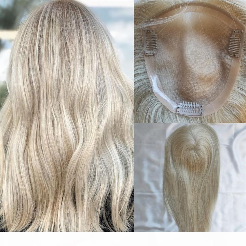 15x17см моно-база волос топпер для женщин платиновая блондинка # 60 девственница русских человеческих волос клип в волосах.