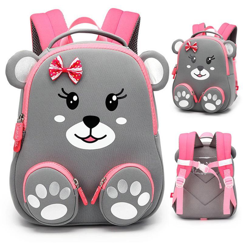 Moda Bambini del banco zaino per le ragazze 3D bella scuola Orso Borse Cute Animals bambini di disegno Zaini Bambini Bag Escolares C1019
