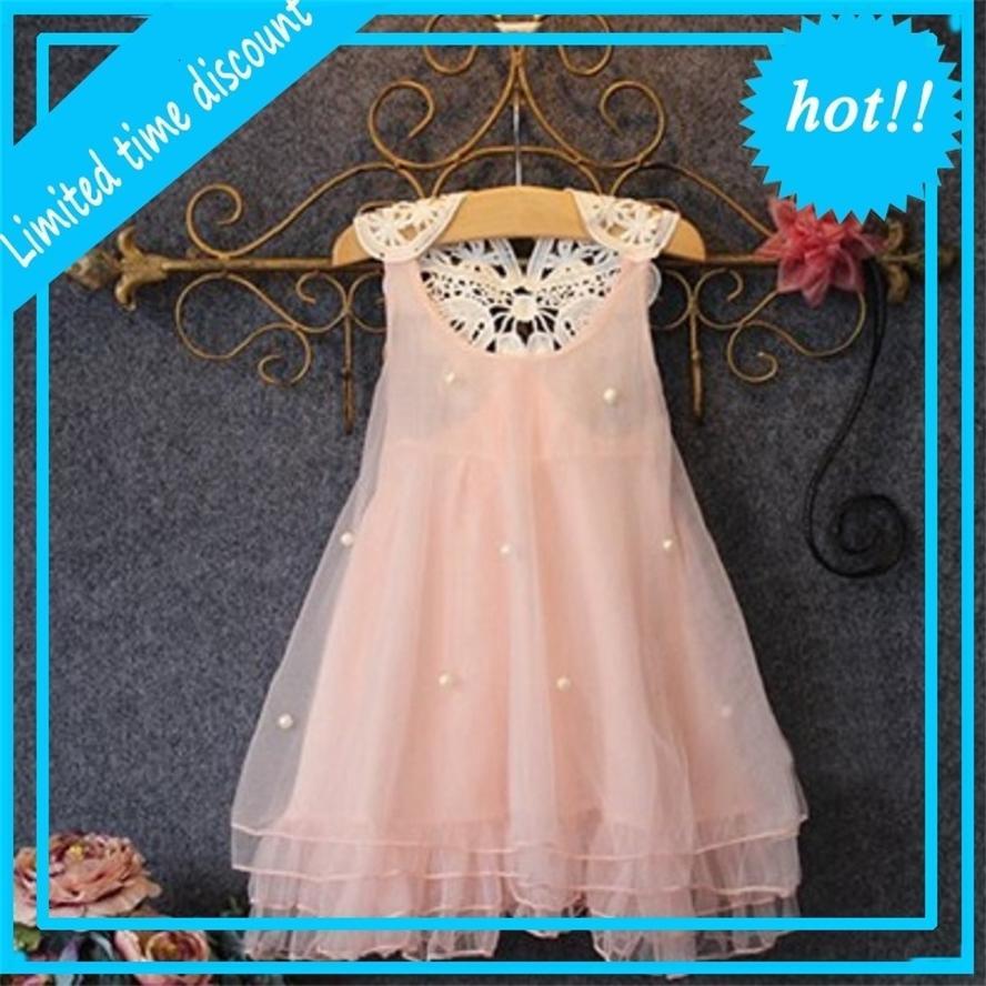 2019 летняя сетка PeuTer Girls Mouwlless Princess Jurk Pearl Tule Цветочное платье без спинки Прямое платье
