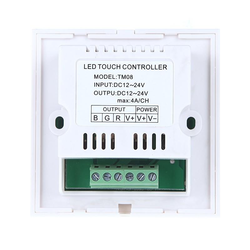 Touch-Panel-LED-Dimmer-Controller für 5050/3528 RGB-LED-Streifen-Licht 12-24V weiß