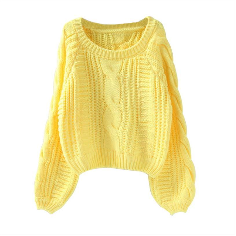 Roupas Femininas Mulheres Pull Camisolas New camisola amarela Jumpers cor doce Harajuku Chic curto camisola torcida Pull