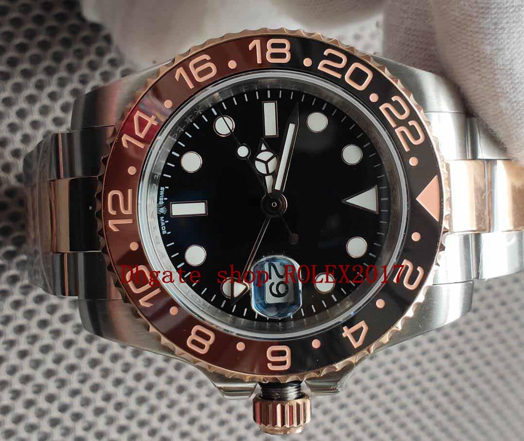 망 슈퍼 BP 공장 V2 최고 품질 ETA 40mm GMT 배트맨 세라믹 18K 골드 CAL.2813 무브먼트 자동 망 시계 시계