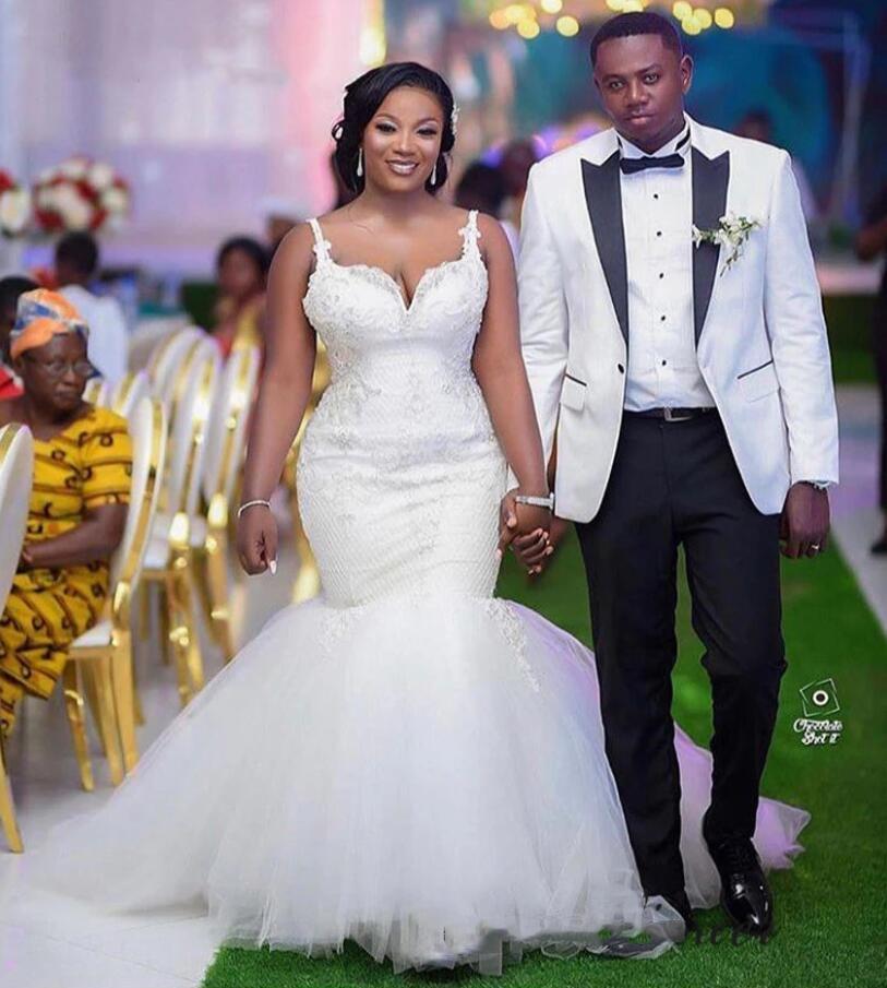 2021 Seksi Sapanlar Beyaz Mermaid Gelinlik Afrika Yeni Moda Zarif Gelin Evlilik Törenlerinde Dantel Aplikler Boyun Boncuk ile