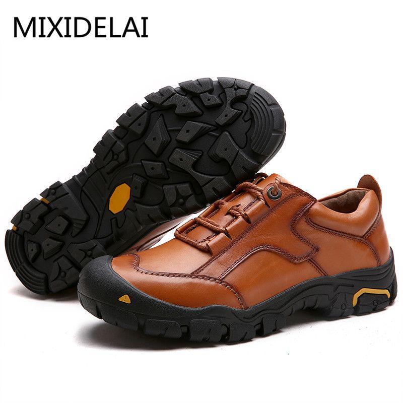 MIXIDELAI Dayanıklı Erkek Emniyet Erkekler Rahat Çalışma Sneakers Erkek 201.012 İçin Gerçek Deri Oxford ayakkabı su geçirmez Casual Shoes