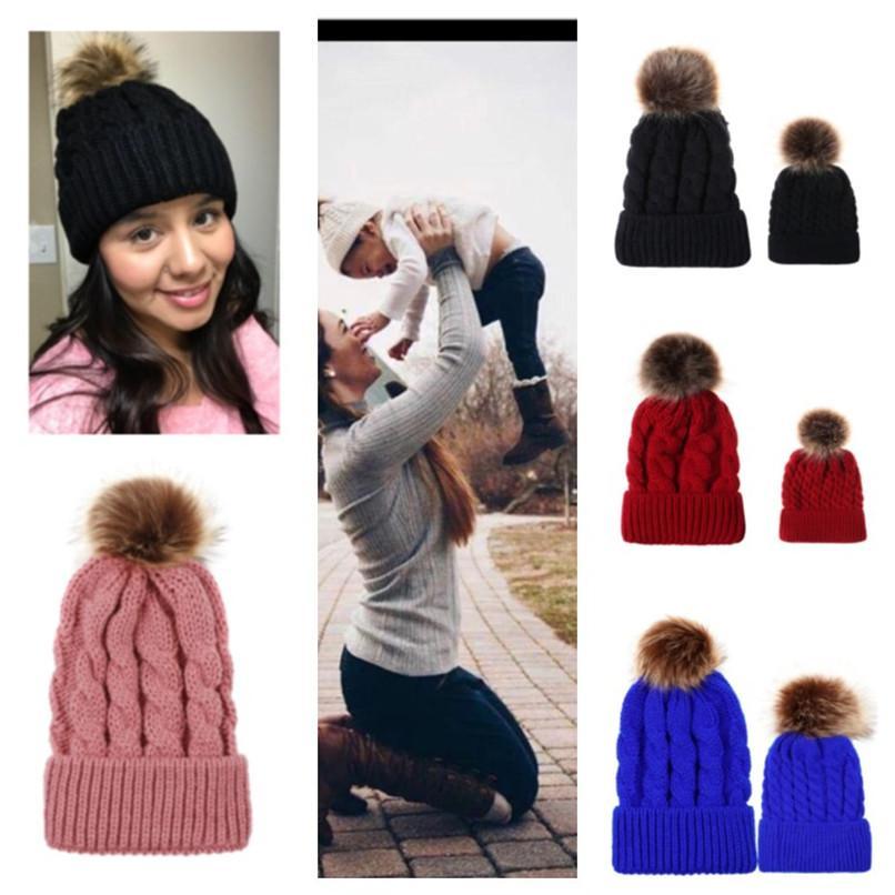 with Big Fur Pom Ball Beanies Kids Adult Winter Hat Twist Knit Crochet Tuque Children Parent matching Outdoor Sport Ski Headwear E101905